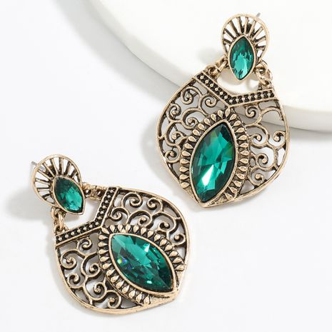 alloy carved diamond glass diamond retro bohemian earrings wholesale nihaojewelry NHJE248646's discount tags