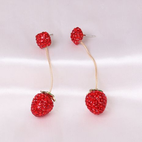 Korean fashion trendy simple fruit strawberry earrings for women wholesale NHJJ248653's discount tags