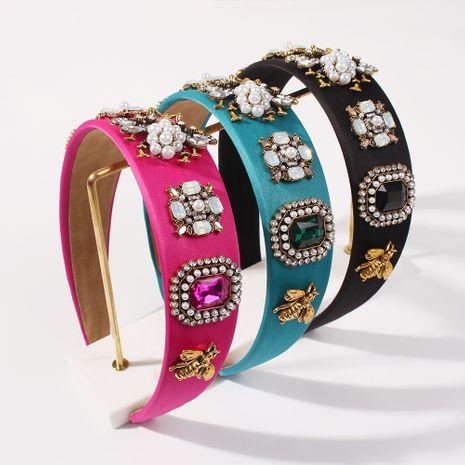 Diadema barroca de perlas con incrustaciones de flores de aleación de ala ancha de diamantes de moda para mujeres hot-saling NHMD248665's discount tags