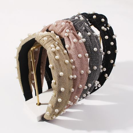 fashion pearl satin cloth knotted wide-brimmed diamond-studded ladies hot-selling  headband NHMD248667's discount tags