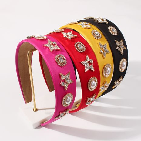 new alloy solid color baroque full of diamonds wide-sided big headband for women NHMD248668's discount tags