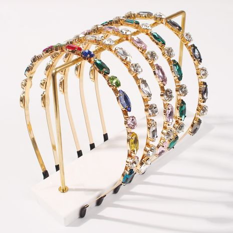 fashion color alloy spring new glass drill multicolor super flash headband for women jewelry hot-saling NHMD248669's discount tags