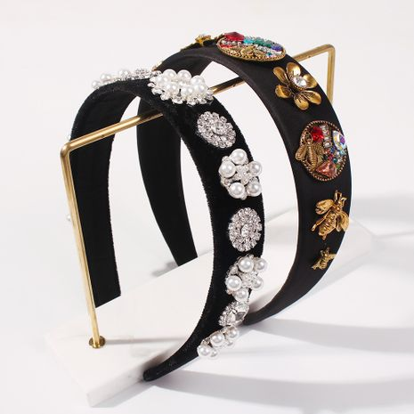 Fashion glass diamond inlaid fashion flower simple  retro hairband NHMD248670's discount tags