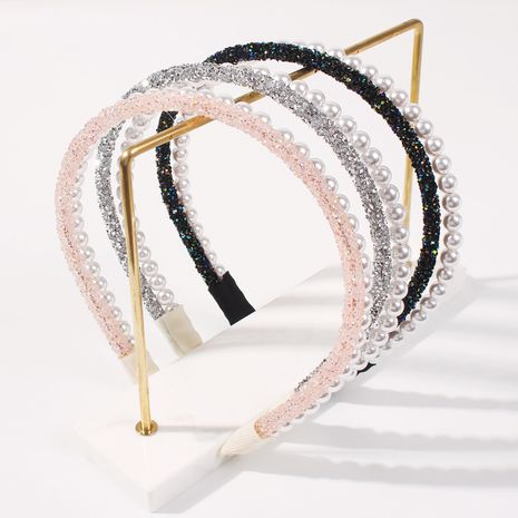 Fashion double bangs clip diamond multicolor pearl trend fairy headband NHMD248675's discount tags