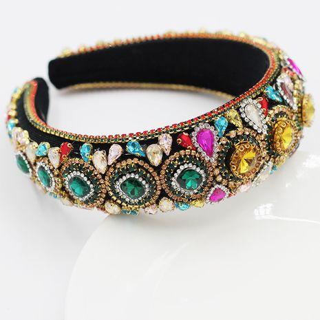 New Baroque Color Full Diamond Big Gem Sponge Ladies Hair Hoop Hair Accessories NHWJ248689's discount tags
