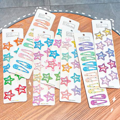 10 ensembles de peinture en métal pour enfants en épingle à cheveux couleur bonbon étoiles accessoires de cheveux en gros nihaojewelry NHNA248694's discount tags