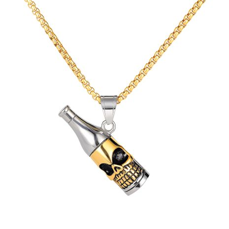 Fashion retro titanium steel skull wine bottle shape pendant fashion men's necklace NHOP248698's discount tags