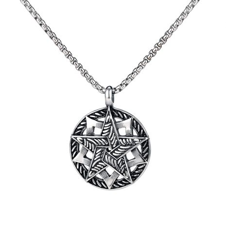 Hot-selling hip-hop style titanium steel  multi-layer five-pointed star hollow necklace  NHOP248703's discount tags