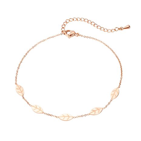 Fashion simple leaf rose gold titanium steel anklet for women leaf foot ornament NHOP248708's discount tags