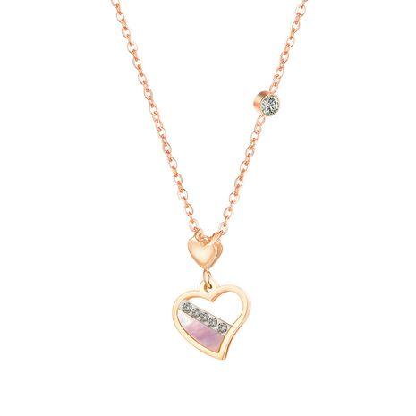 Korean fashion new love mother shell titanium steel rose gold peach heart diamond  necklace  NHOP248712's discount tags
