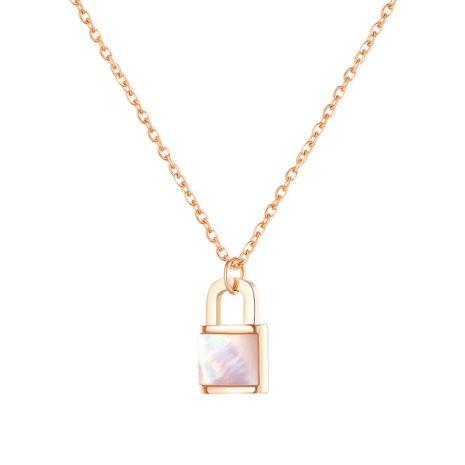 hot-saling new  lock pendant ladies titanium steel necklace  NHOP248715's discount tags