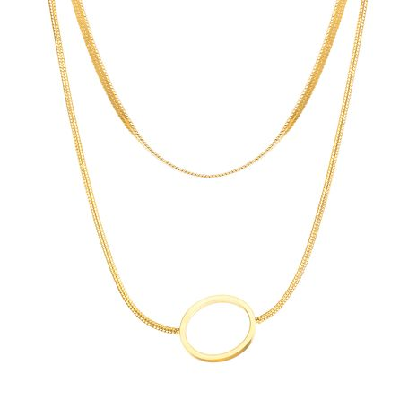 Fashion double-layer titanium steel simple necklace niche clavicle chain for women jewelry wholesale NHOP248718's discount tags