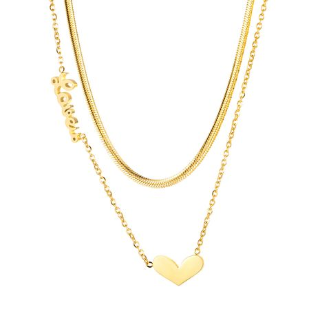 Korean Fashion Titanium Steel Love-shaped Multilayer English Letter Wild Clavicle Chain Necklace For women NHOP248719's discount tags