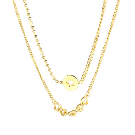 wholesale Korean classic five-pointed star double-layer titanium steel hot-selling ladies clavicle chain necklace NHOP248721's discount tags