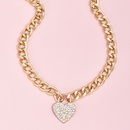 fashion new full diamond peach heart pendant womens Yshaped alloy necklace wholesale  NHAJ248740