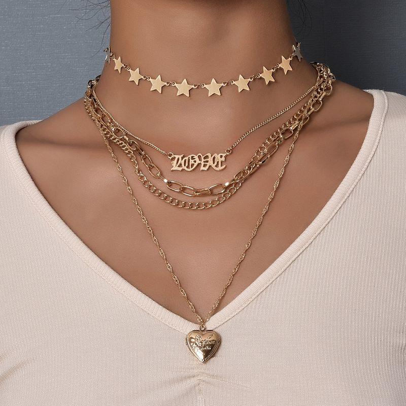 New hotsaling fashion love heart star letter pendant womens necklace multilayer NHAJ248749