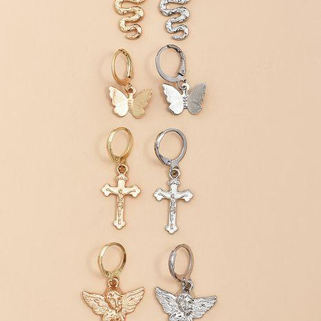 Nouveau style populaire Jane papillon serpent croix boucles d'oreilles ange mis en gros nihaojewelry NHAJ248754's discount tags