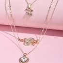 fashion full diamond dragon cherry love multilayer womens necklace wholesale NHAJ248765