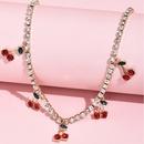 fashion new womens diamond chain cherry alloy necklace  NHAJ248766