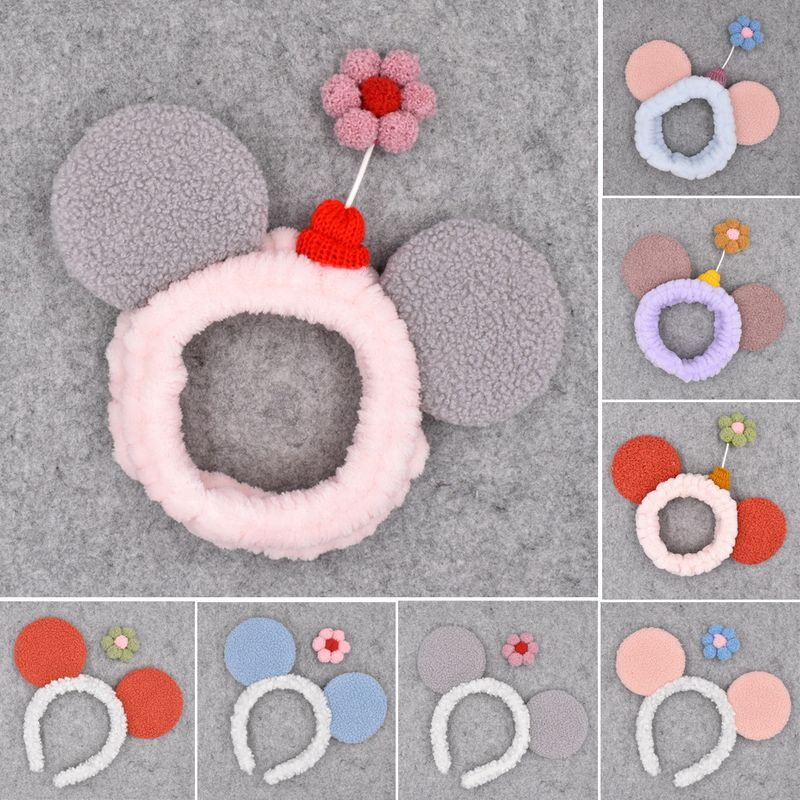 Fashion flower cartoon Mickey plush beauty face wash women's pressure headband cute hair accessories NHCL248838