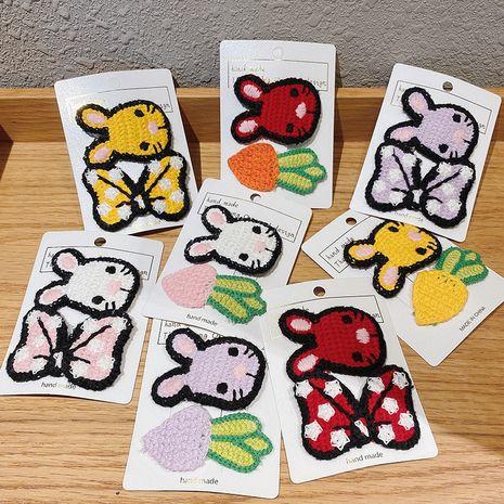 Korea new cartoon rabbit bow radish hairpin knitted wool edge clip hairpin wholesale NHCQ248877's discount tags