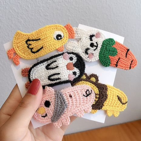Korea new cartoon wool embroidery animal bangs clip hairpin headdress wholesale NHCQ248897's discount tags