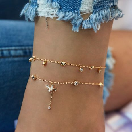 fashion Butterfly Love Multilayer Anklet NHAJ248910's discount tags