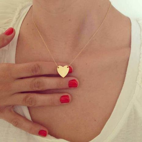 Korean Fashion Simple Glossy All-match Peach Heart alloy Necklace NHPF248939's discount tags