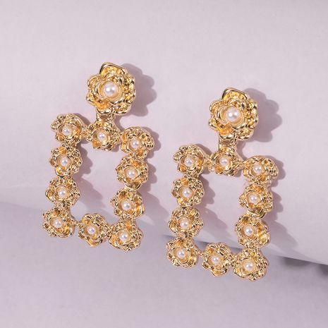 Fashion alloy simple pearl flower earrings for women wholesale NHMD249053's discount tags