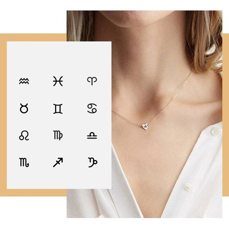Simple Clavicle Chain Women's Love Pendant Lettering Constellation 316L Necklace NHTF248625's discount tags