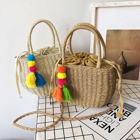 Summer straw small bag popular new fashion one-shoulder messenger handbag wholesale NHLH248974's discount tags