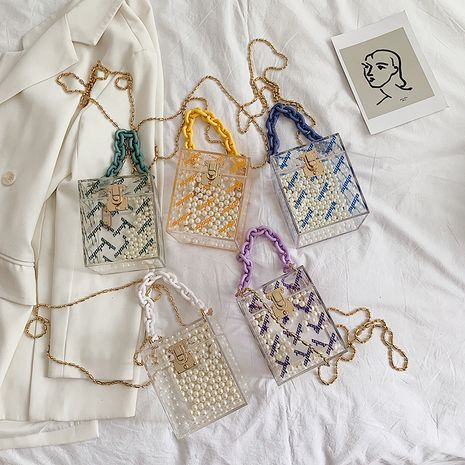 summer new trendy Korean wild one-shoulder messenger chain transparent portable jelly bag  NHLH249012's discount tags