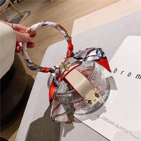 Moda transparente nueva moda coreana bufanda de seda todo fósforo retro pequeño bolso de mujer redondo NHLH249022's discount tags