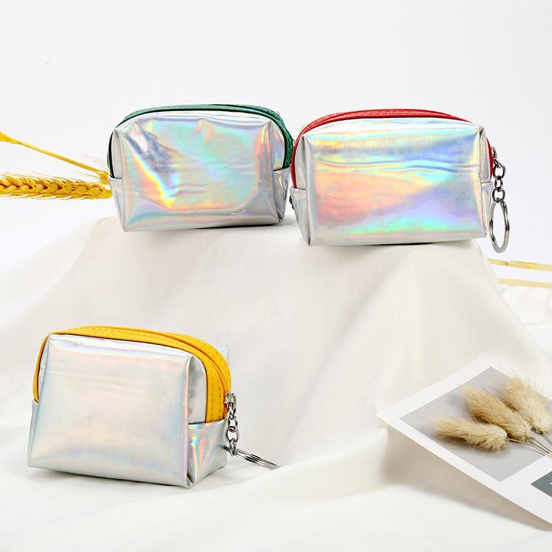 Korea girls heart laser coin purse mini cute portable coin storage small cosmetic bag NHAE249056