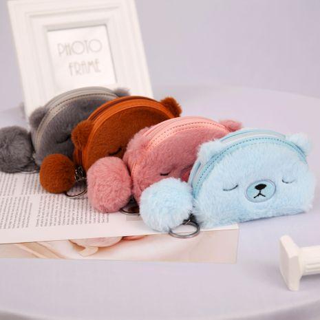 Corée mode nouvelle peluche ours dames portefeuille porte-monnaie en gros NHAE249070's discount tags
