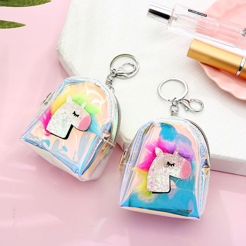 Fashion laser mini jelly cartoon unicorn wallet coin purse wholesale NHAE249080