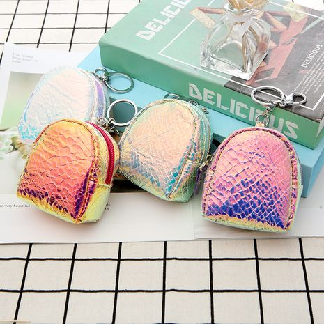 Korea new laser couple zipper earphone mini storage wallet coin purse wholesale NHAE249083's discount tags
