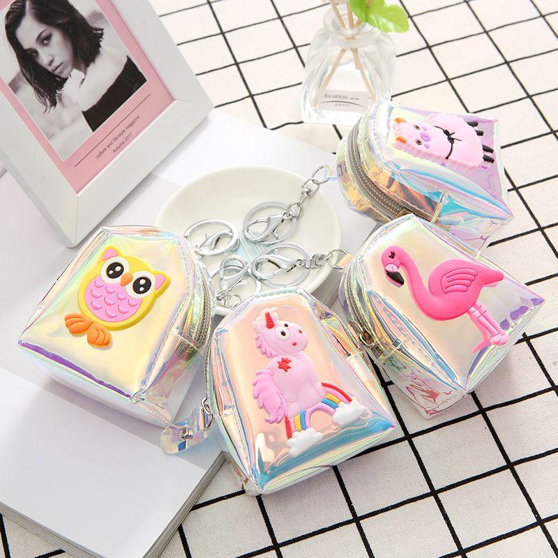 Fashion laser cartoon cute owl alpaca jelly storage coin purse wholesale NHAE249085