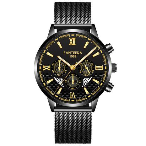 Reloj con correa de malla de negocios de tres ojos y seis pines de moda, gran dial, ultrafino, calendario, para hombres NHSS249095's discount tags