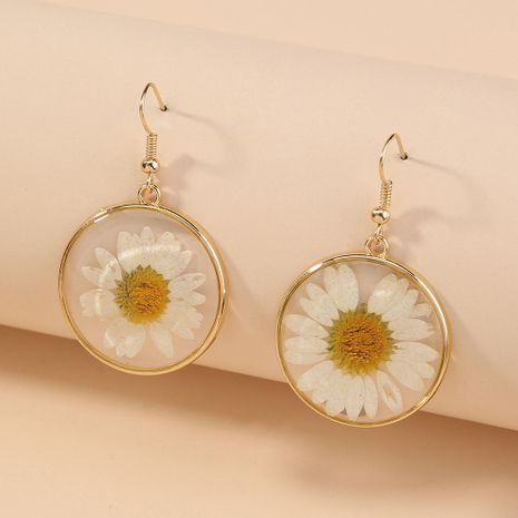 hot sale new round white natural chrysanthemum transparent resin alloy earrings  NHAN249108's discount tags
