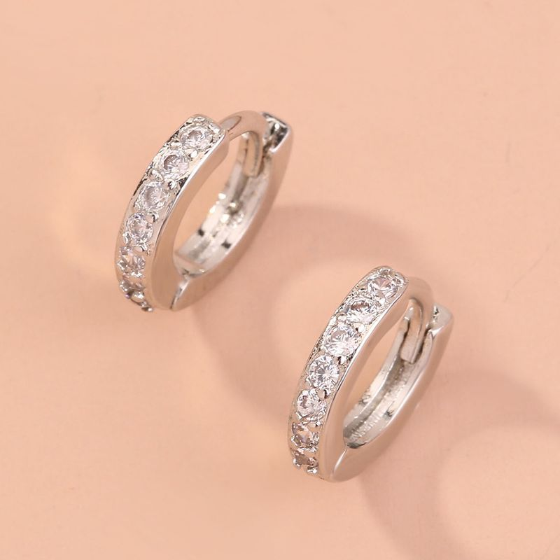 new accessories fashion wild white k diamond geometric alloy earrings ear clips jewelry NHAN249109