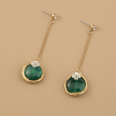 retro round pendant flower emerald natural stone palace style women's alloy earrings ear jewelry NHAN249110's discount tags