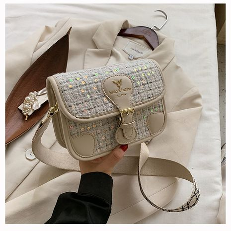 new texture rhombic canvas messenger chain shoulder bag wholesale NHTC249287's discount tags