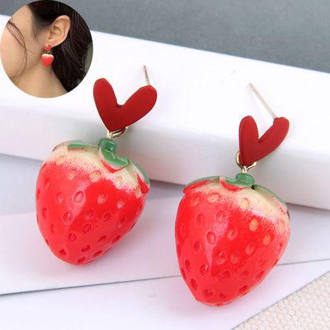 Korean fashion sweet OL love strawberry earrings wholesale NHSC249454's discount tags