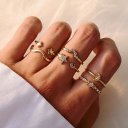 fashion gold-plated crystal star moon ring 5-piece set wholesale NHOT252471