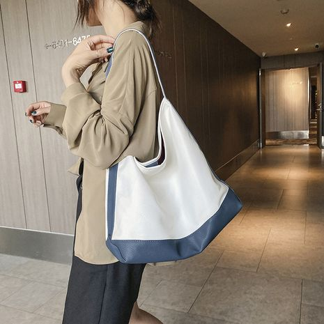 Simple large-capacity bag new fashion simple contrast single shoulder tote bag wholesale NHJZ249388's discount tags