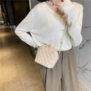 fashion solid color embroidered line rhombic shell bag versatile oneshoulder chain bag wholesale NHJZ249411