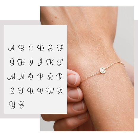 Fashion simple titanium steel rose gold adjustable lettering letter bracelet NHTF249360's discount tags