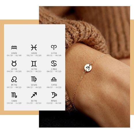 Pulsera ajustable de constelación de letras redondas de acero inoxidable para mujer NHTF249357's discount tags