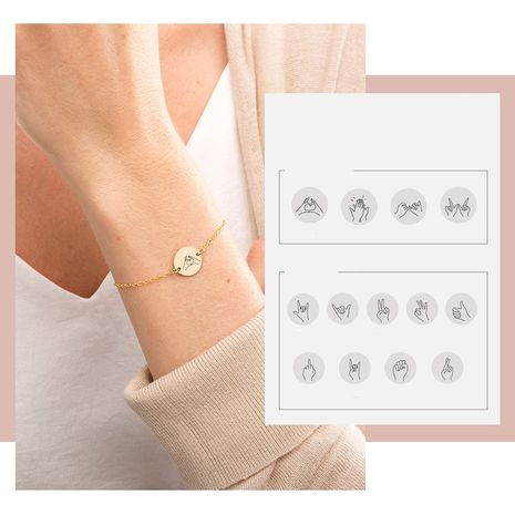 Fashion simple gold-plated geometric round 316L titanium steel can be engraved bracelet for women NHTF249341's discount tags